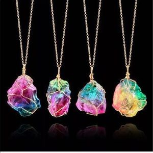 Chakra crystal necklace rainbow quartz healing